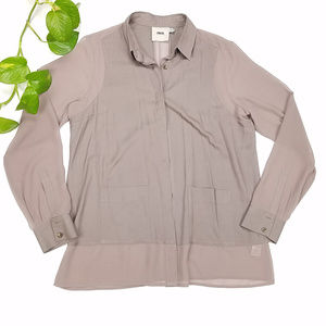 ASOS Taupe Brown Button Down Blouse Size 10